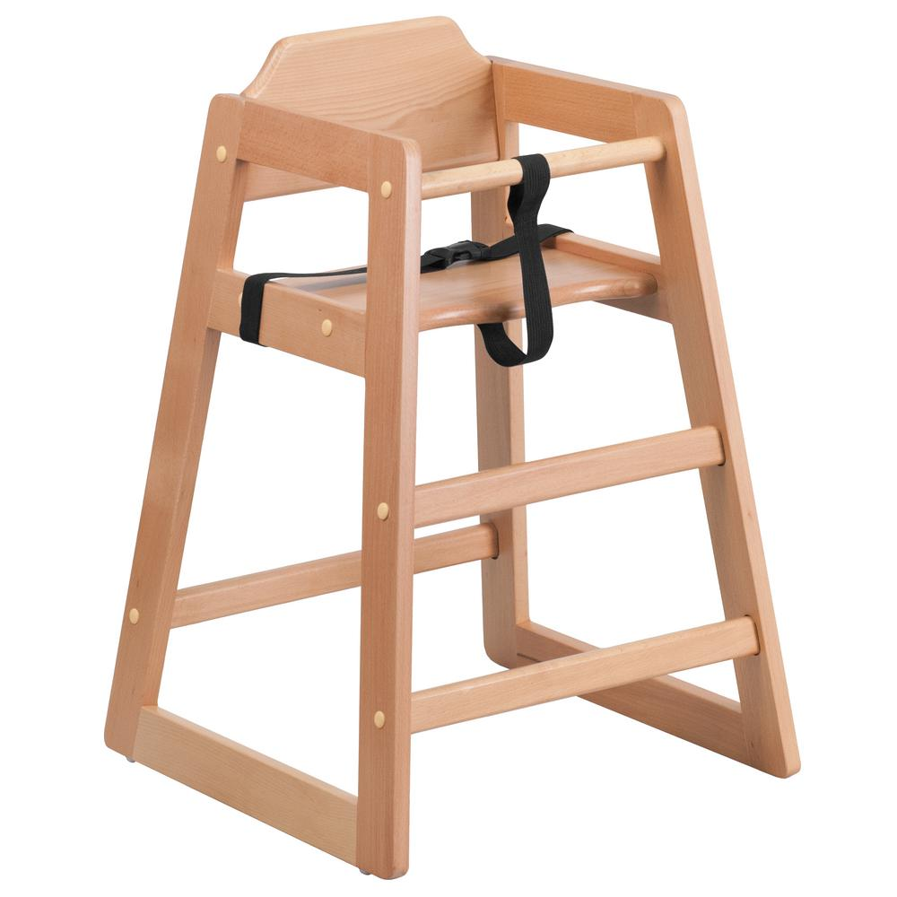 FLASH Hercules Series Stackable Natural Baby High Chair
