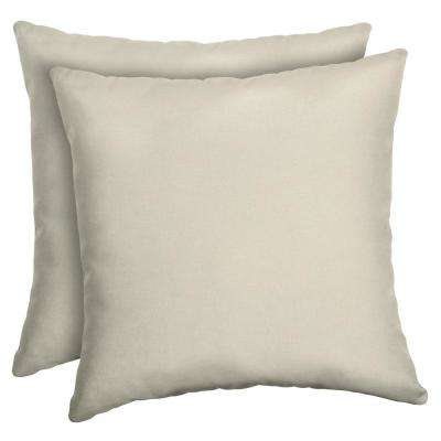 Sand Canvas Texture Square Outdoor Throw Pillow (2-Pack)