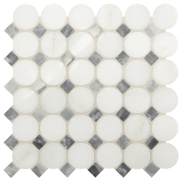 Premier Accents White and Gray Coin 11 in. x 12 in. x 8 mm Stone Mosaic Floor and Wall Tile (0.92 sq. ft. / piece)