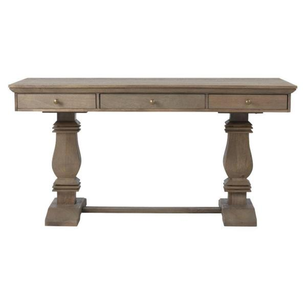 Home Decorators Collection Aldridge Antique Grey Desk with Keyboard Tray