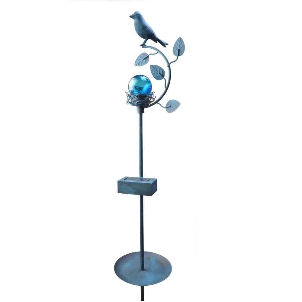Moonrays Blue Solar Powered Color-Changing LED Outdoor Bird Stake Light