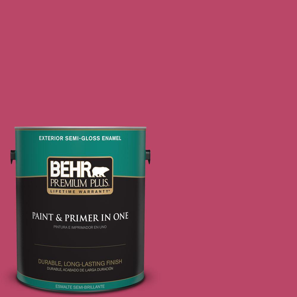 BEHR Premium Plus 1-gal. #S-G-110 Orchid Rose Semi-Gloss Enamel Exterior Paint