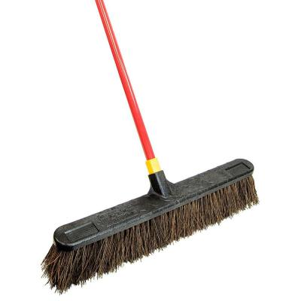 "Wood Block PRO-SOURCE 18/"" Heavy Duty Palmyra Push Broom 4/"" Bristles Threade..."