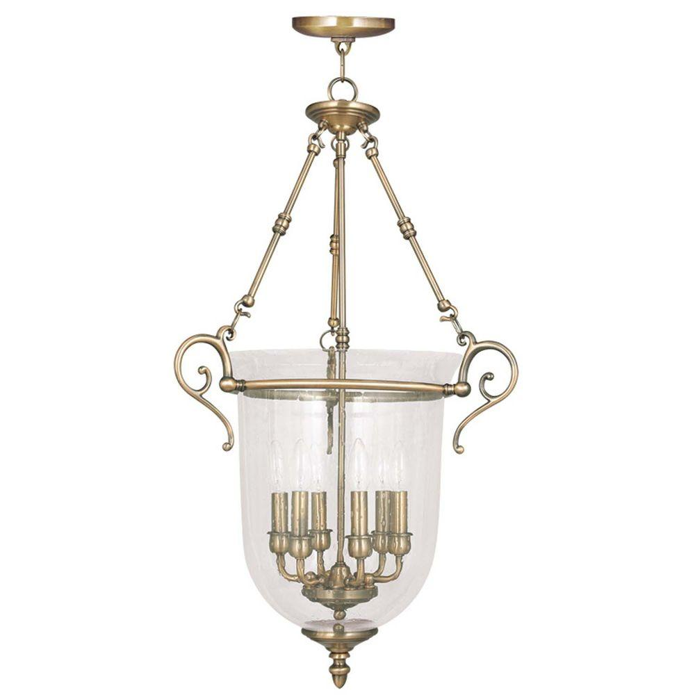 Providence 6-Light Antique Brass Incandescent Ceiling Pendant