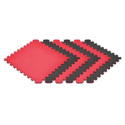 Black/Red 24 in. x 24 in. x 0.51 in. Foam Reversible Interlocking Floor Mat (6-Pack)