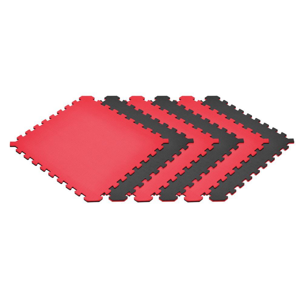Red/Black 24 in. x 24 in. EVA Foam Truly Reversible Interlocking Tile (24-Tile)