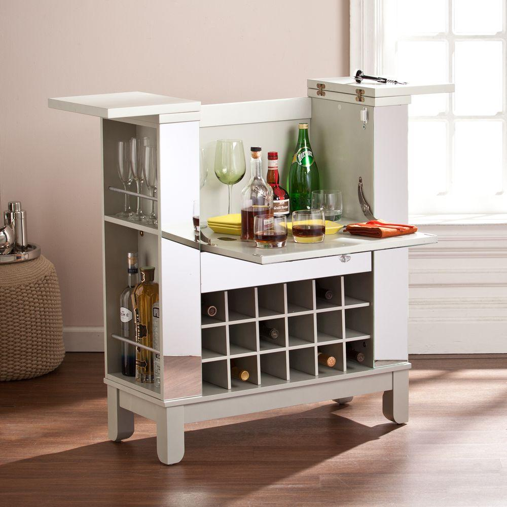 Southern Enterprises Littie Silver Mirrored Bar With Expandable Storage Hd865966 The Home Depot