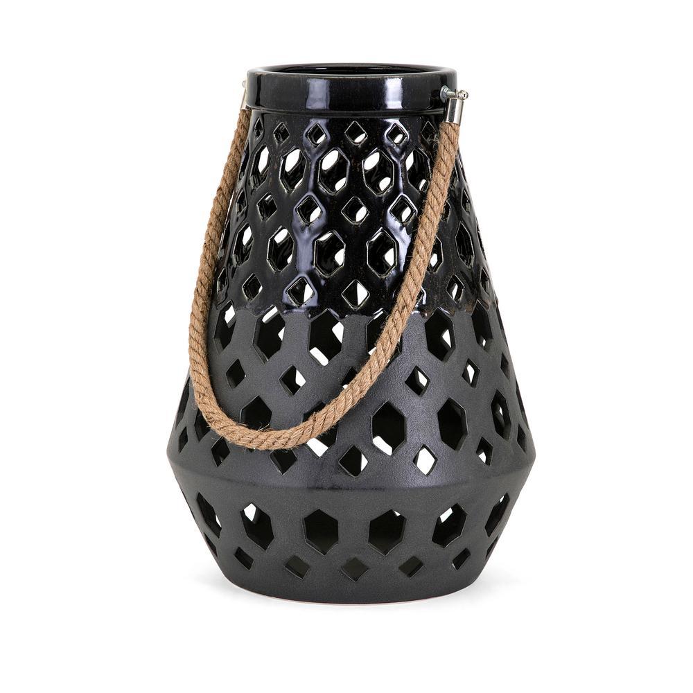 Miles Black Ceramic Lantern