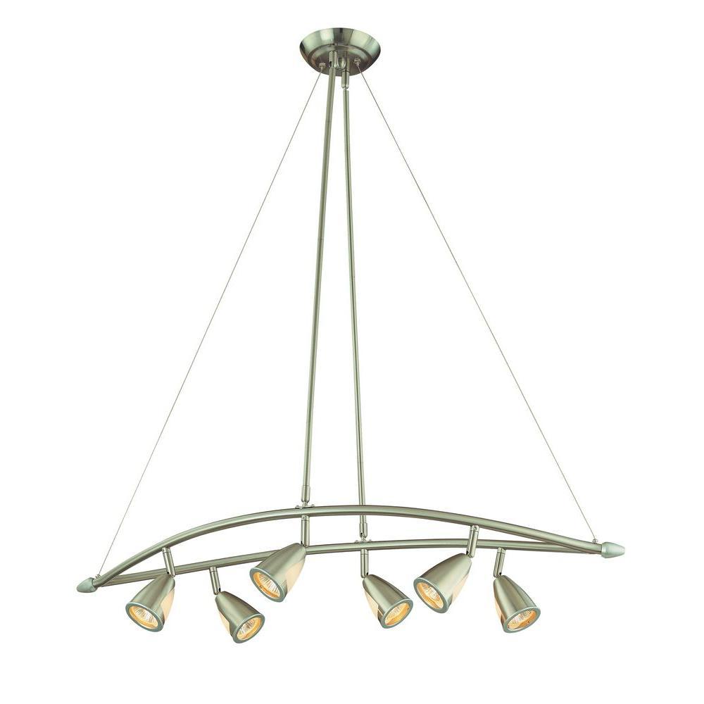 Hampton bay 6 light brushed steel chandelier with multi directional hampton bay 6 light brushed steel chandelier with multi directional spotlights arubaitofo Gallery