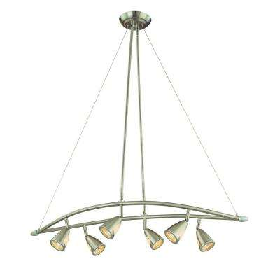 6-Light Brushed Steel Chandelier with Multi-Directional Spotlights