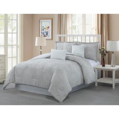 Napoli 7-Piece Taupe/White Queen Reversible Comforter Set