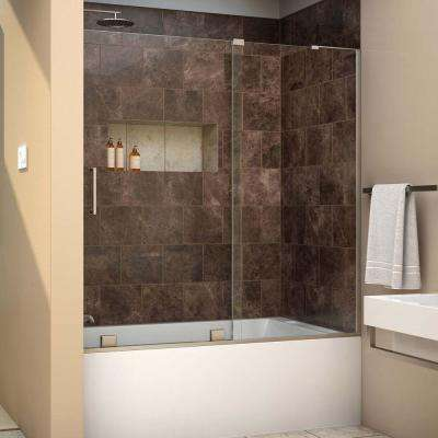 Mirage-X 56 in. to 60 in. x 58 in. Semi-Frameless Sliding Tub Door in Brushed Nickel