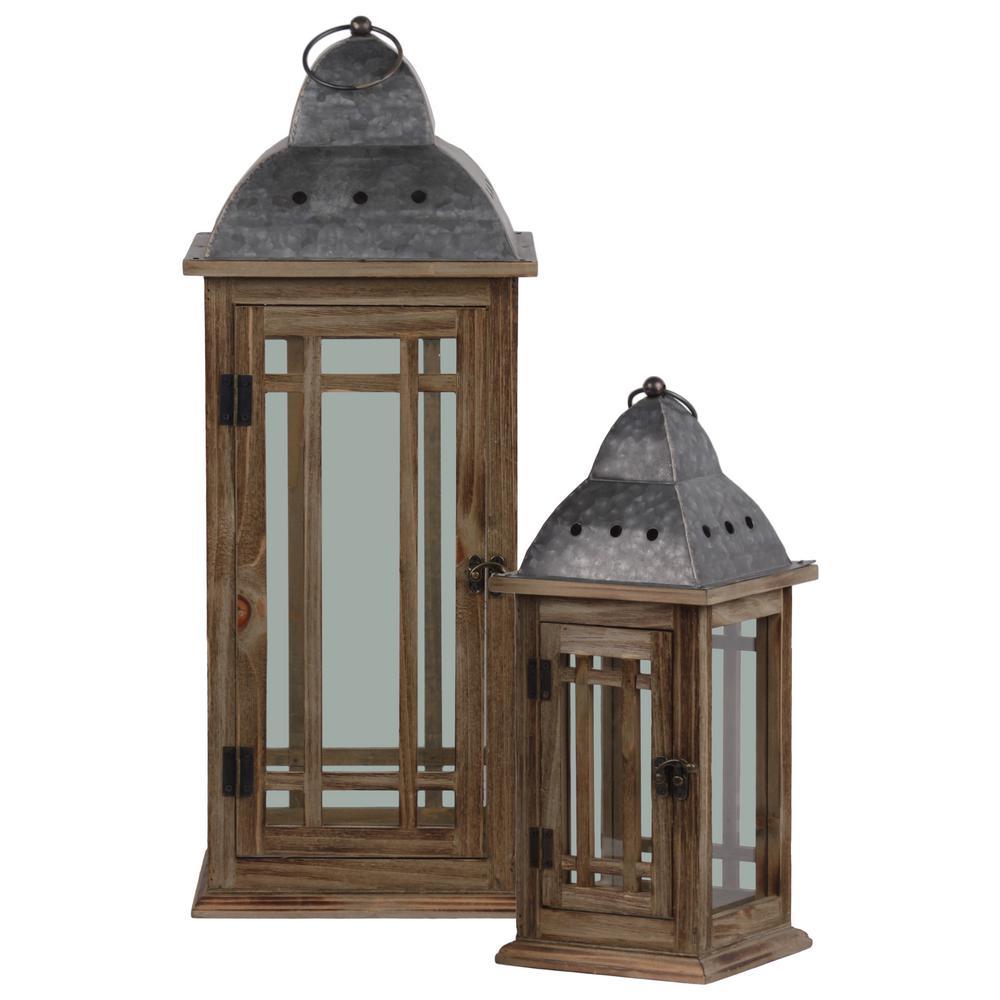 UTC31445: Brown Candle Wooden Decorative Lantern