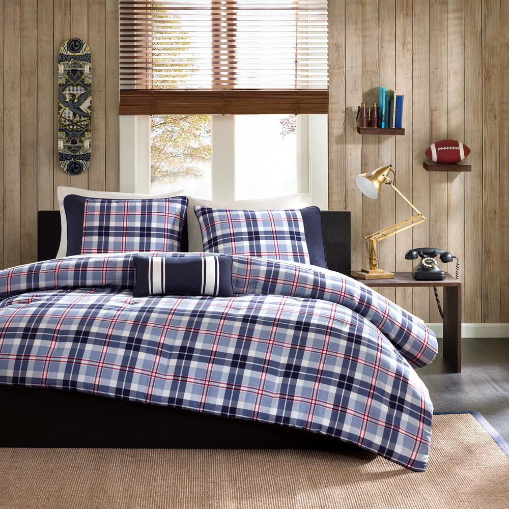 Alton 4-Piece Blue Full/Queen Comforter Set