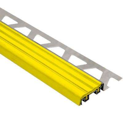 Trep-SE Stainless Steel with Yellow Insert 5/16 in. x 4 ft. 11 in. Metal Stair Nose Tile Edging Trim