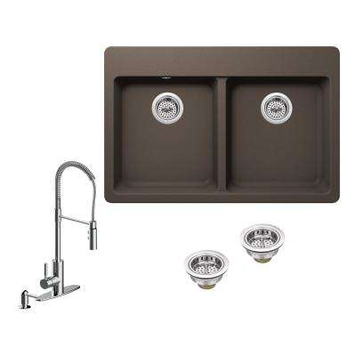 All-in-One Drop-in Granite Composite 33 in. 4-Hole 50/50 Double Bowl Kitchen Sink in Brown with Faucet in Chrome