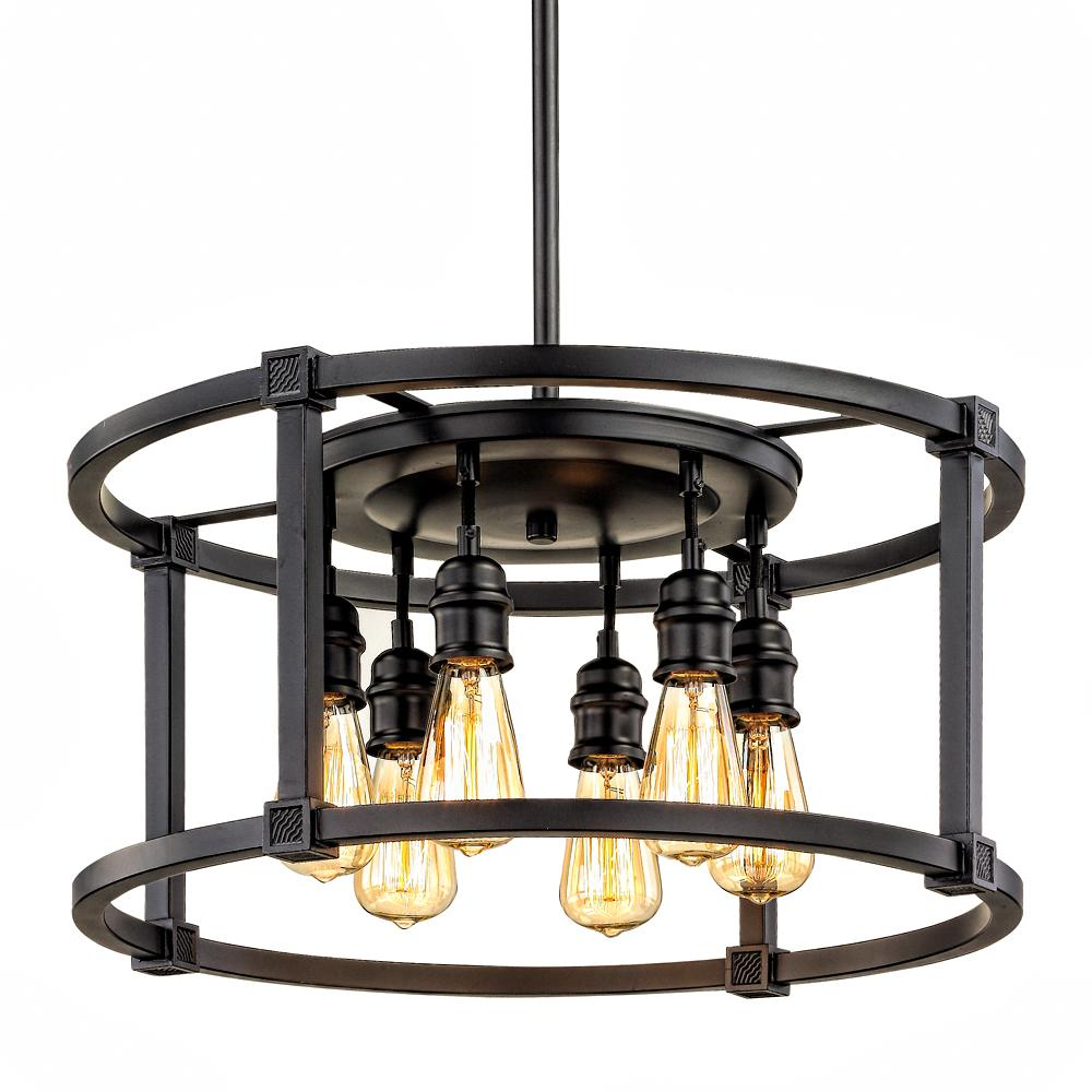 Fifth And Main Lighting 6 Light Aged Bronze Dinette Pendant Hd 1265 The Home Depot