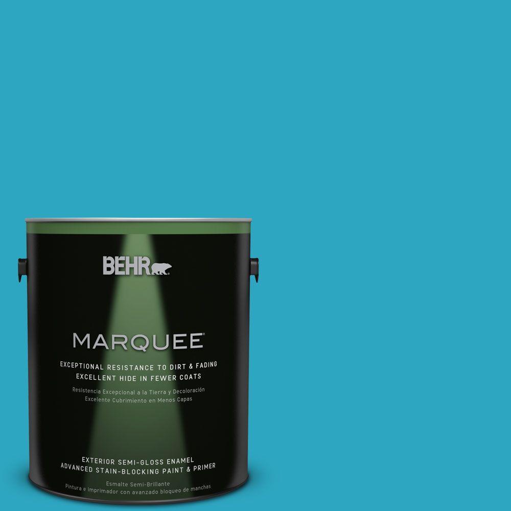 BEHR MARQUEE 1-gal. #MQ4-52 Gulf Waters Semi-Gloss Enamel Exterior Paint