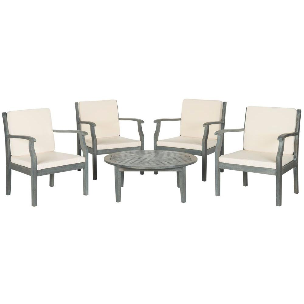 Safavieh Colfax Ash Gray 5-Piece Patio Seating Set with Beige Cushions