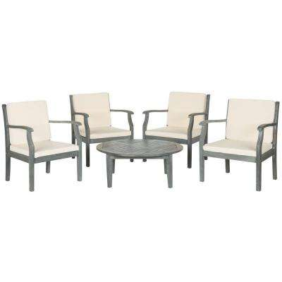 Colfax Ash Gray 5-Piece Patio Seating Set with Beige Cushions