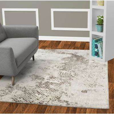 Jasmin Collection Grey and Ivory 5 ft. 3 in. x 7 ft. 3 in. Squares Design Area Rug
