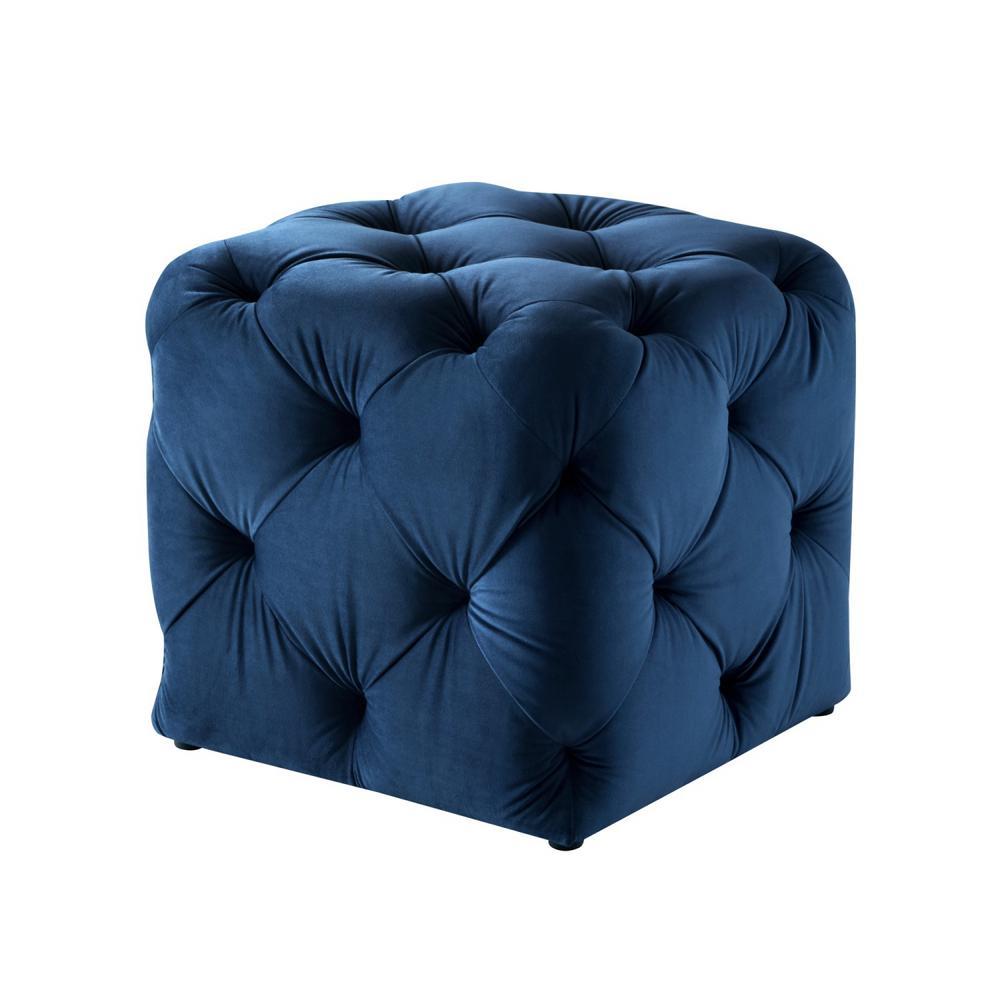 Genevieve Navy Cube Tufted Upholstered Velvet Ottoman