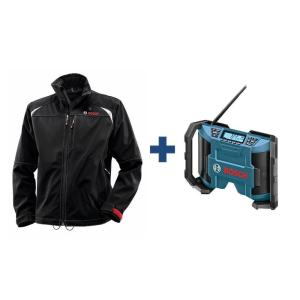 Bosch Men's Black Heated Jacket Kit with Free 12 Volt Lithium-Ion Cordless Compact Jobsite Radio by Bosch