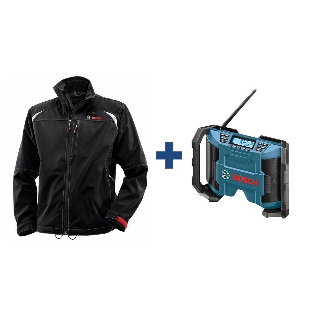 Men's Black Heated Jacket Kit with Free 12 Volt Lithium-Ion Cordless Compact Jobsite Radio