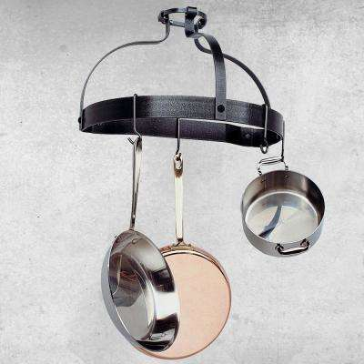 Hammered Steel Wall Mounted Crown Pot Rack