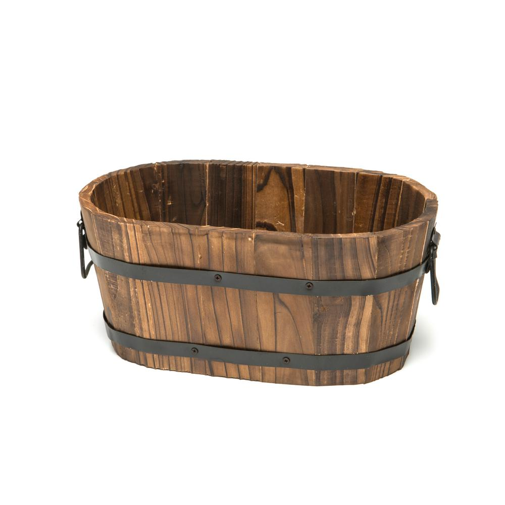 Small oval wooden planter