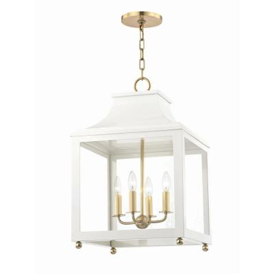 Leigh 4-Light 16 in. W Aged Brass/White Pendant with Clear Glass Panel