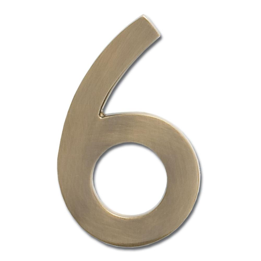 4 in. Antique Brass Floating House Number 6