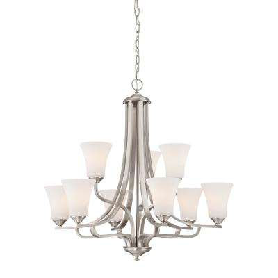 Treme 9-Light Brushed Nickel Chandelier With Etched White Glass Shades