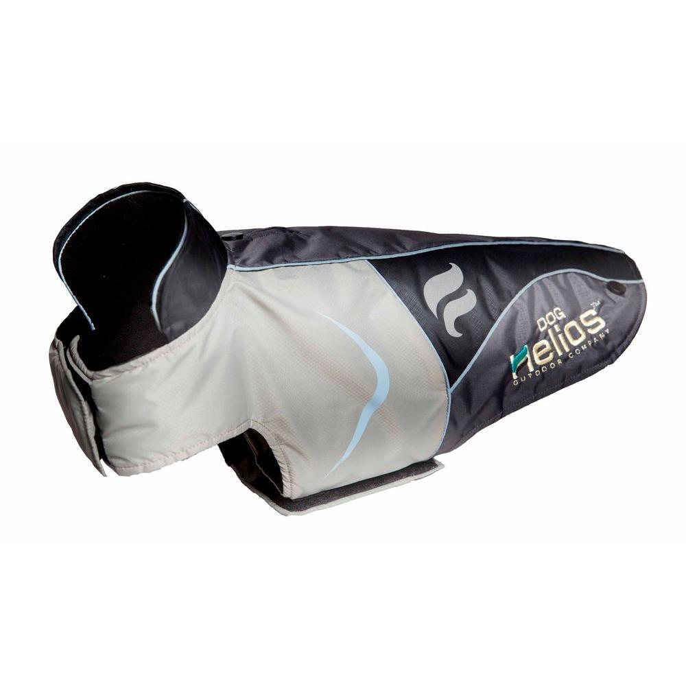 Medium Grey and Black Lotus-Rusher Waterproof 2-in-1 Convertible Dog Jacket with Blackshark Technology