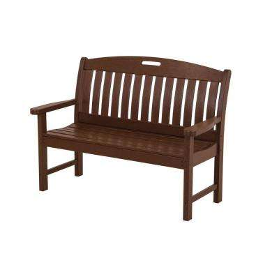 Nautical 48 in. Mahogany Plastic Outdoor Patio Bench