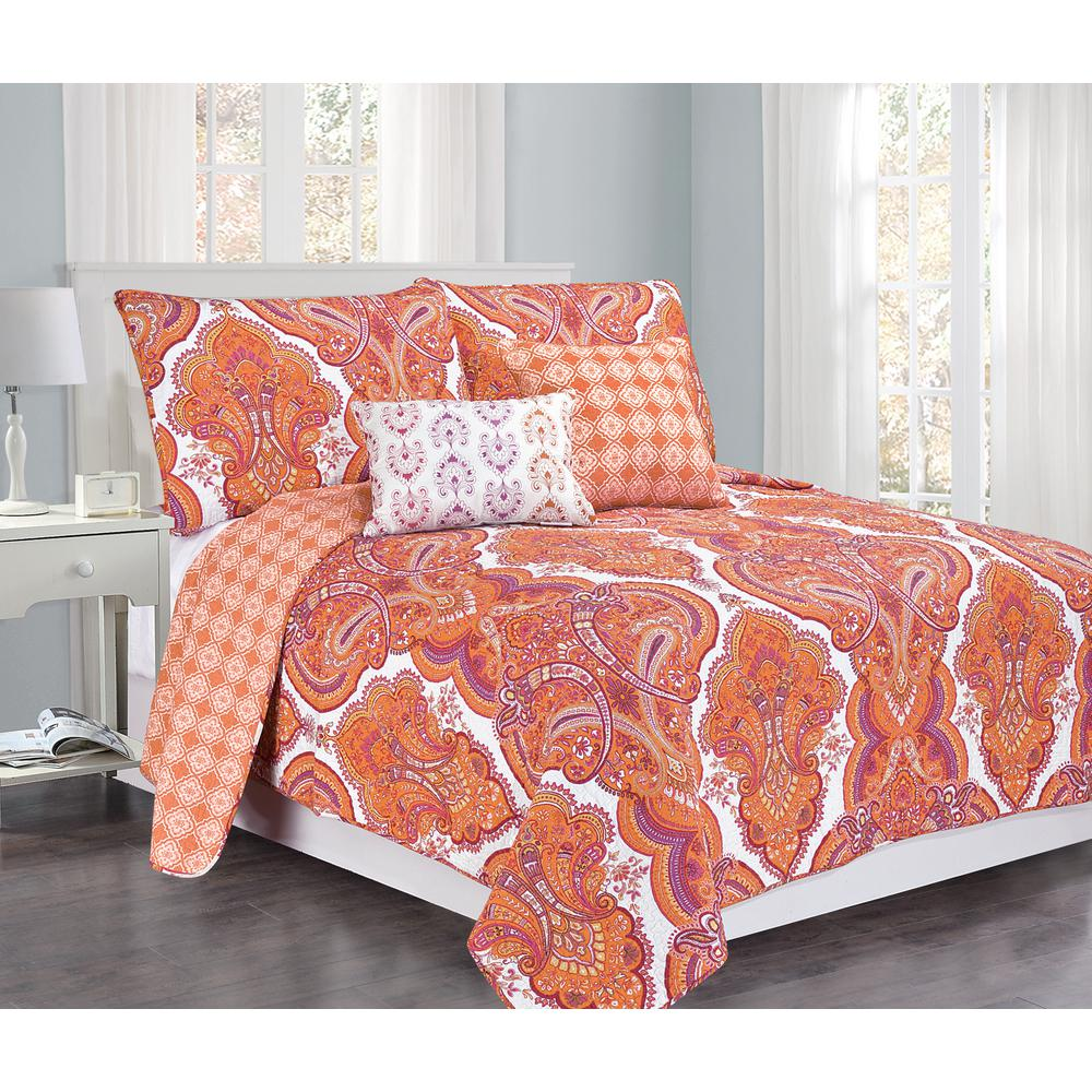 Brilliance Paisley Full-Queen Orange/Coral with Pillow 5-Piece ... : coral quilt queen - Adamdwight.com