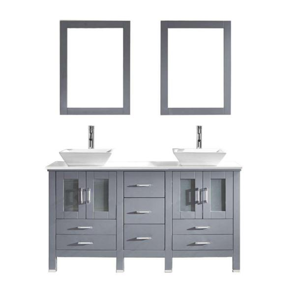 Bradford 60 in. W Bath Vanity in Gray with Stone Vanity Top in White with Square Basin and Mirror and Faucet