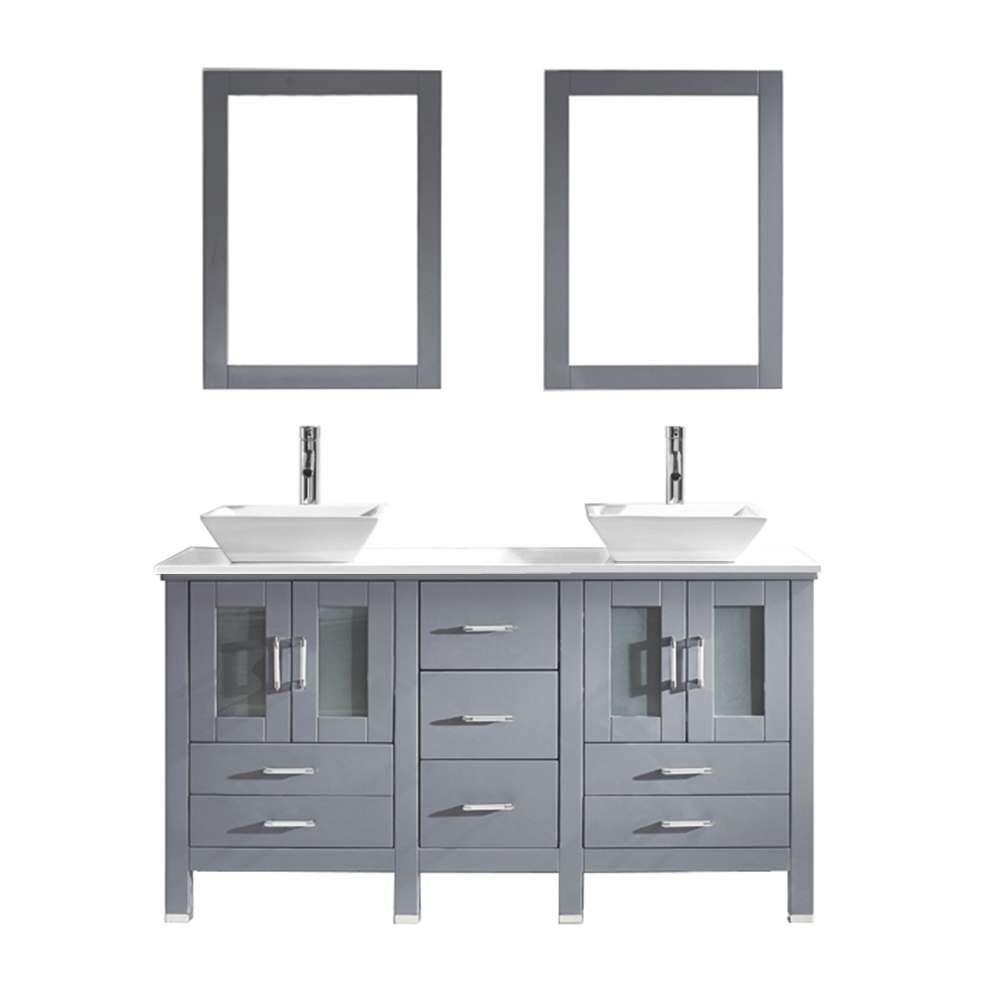 Bradford 60 in  W x 22 in  D x 32 99 in  H Grey. Double Sink   Bathroom Vanities   Bath   The Home Depot