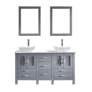 Virtu USA Bradford 60 inch W x 22 inch D x 32.99 inch H Grey Vanity With Stone Vanity Top With White Square Basin and... by Virtu USA