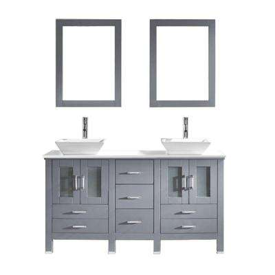 Bradford 60 in. W x 22 in. D x 32.99 in. H Grey Vanity With Stone Vanity Top With White Square Basin and Mirror
