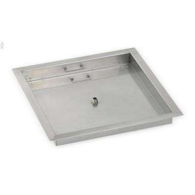 18 in. sq. Stainless Steel Drop-In Fire Pit Pan (1/2 in. Nipple)