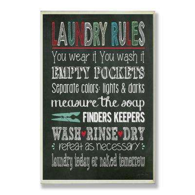 "12.5 in. x 18.5 in. ""Laundry Rules Typography Chalkboard"" by Jo Moulton Printed Wood Wall Art"