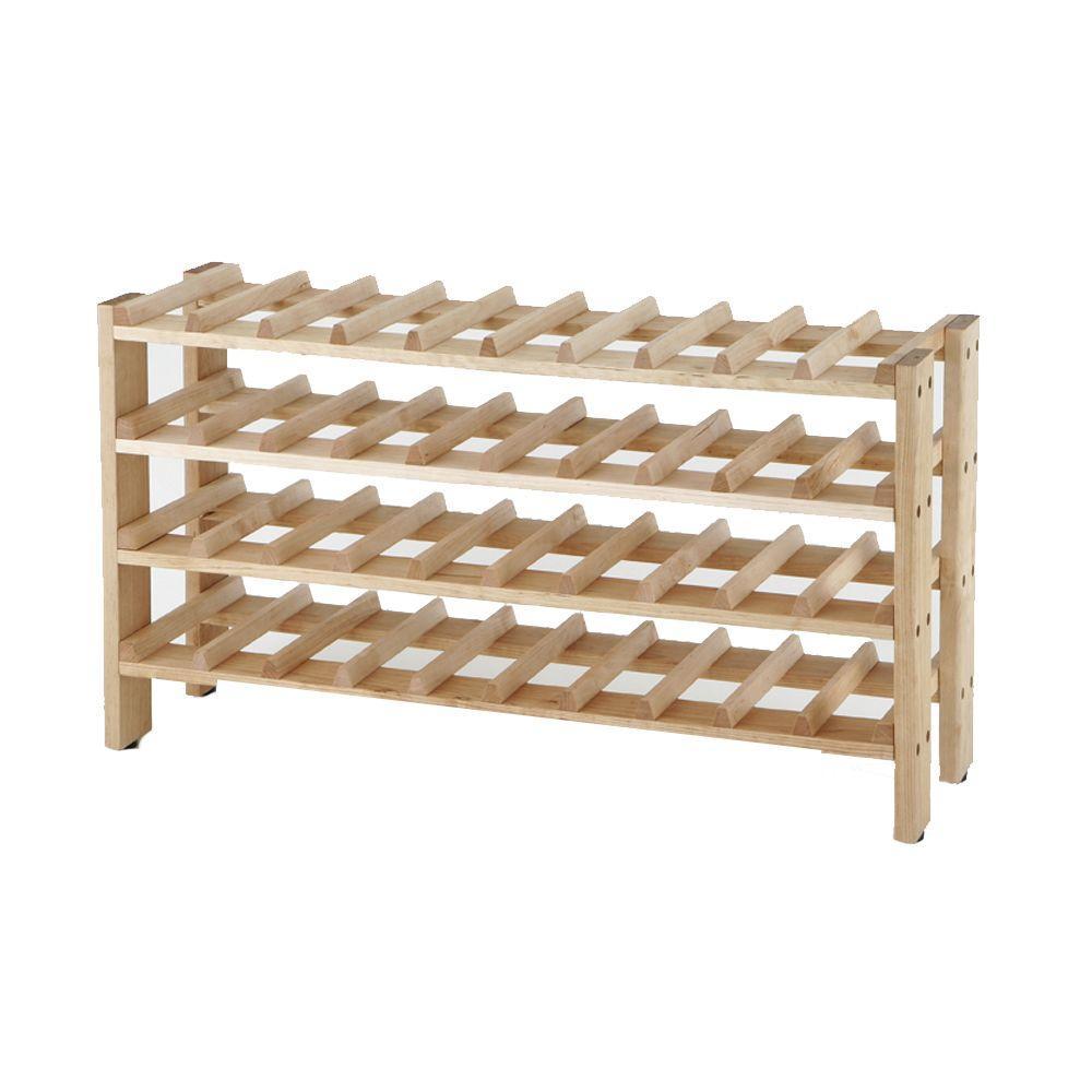 4-Shelf 40-Bottle Wine Rack in Birch