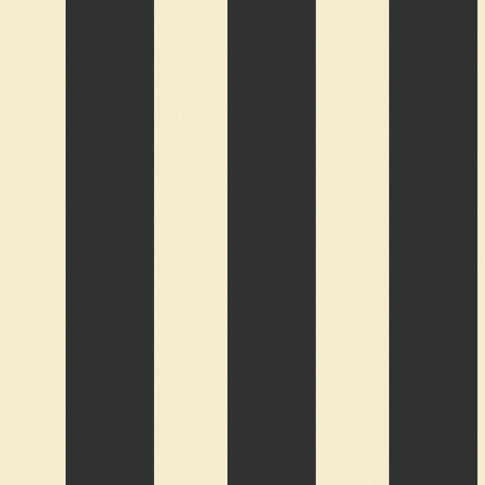 The Wallpaper Company 56 sq. ft. Black and Ivory Large Scale Stripe Wallpaper