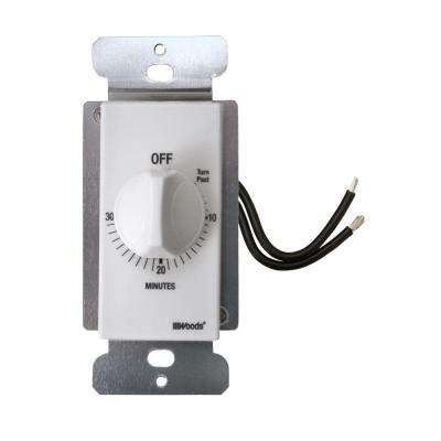 20-Amp 30-Minute In-Wall Spring Wound Countdown Timer Switch, White