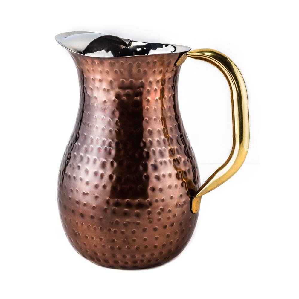 Old Dutch Old Dutch 2.25 Qt. Decor Antique Copper Hammered Water Pitcher, Brass Ice Guard and Handle
