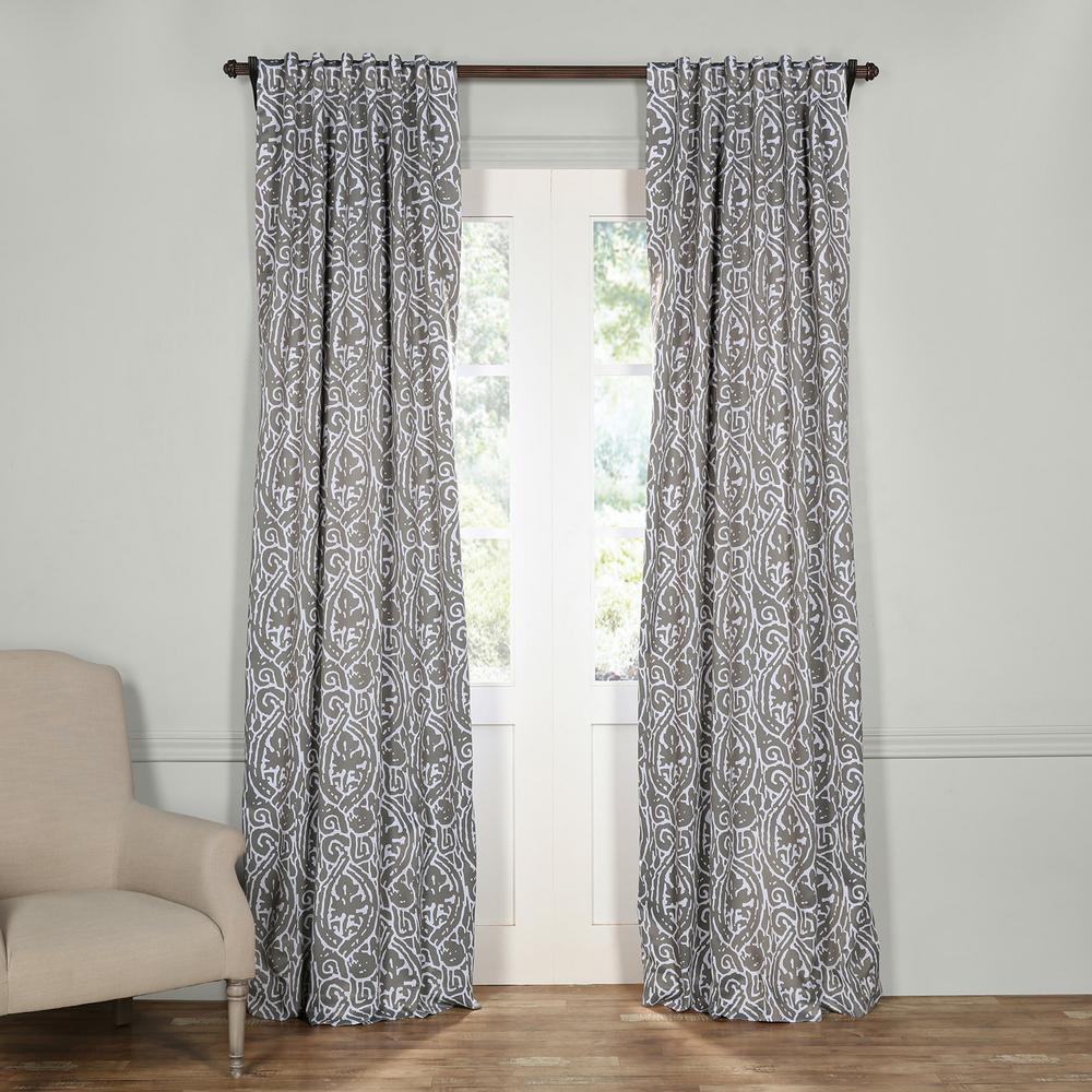 Exclusive Fabrics Furnishings Semi Opaque Abstract Lunar Grey Blackout Curtain 50 In W X 120 L Panel Boch Kc16076 The Home Depot