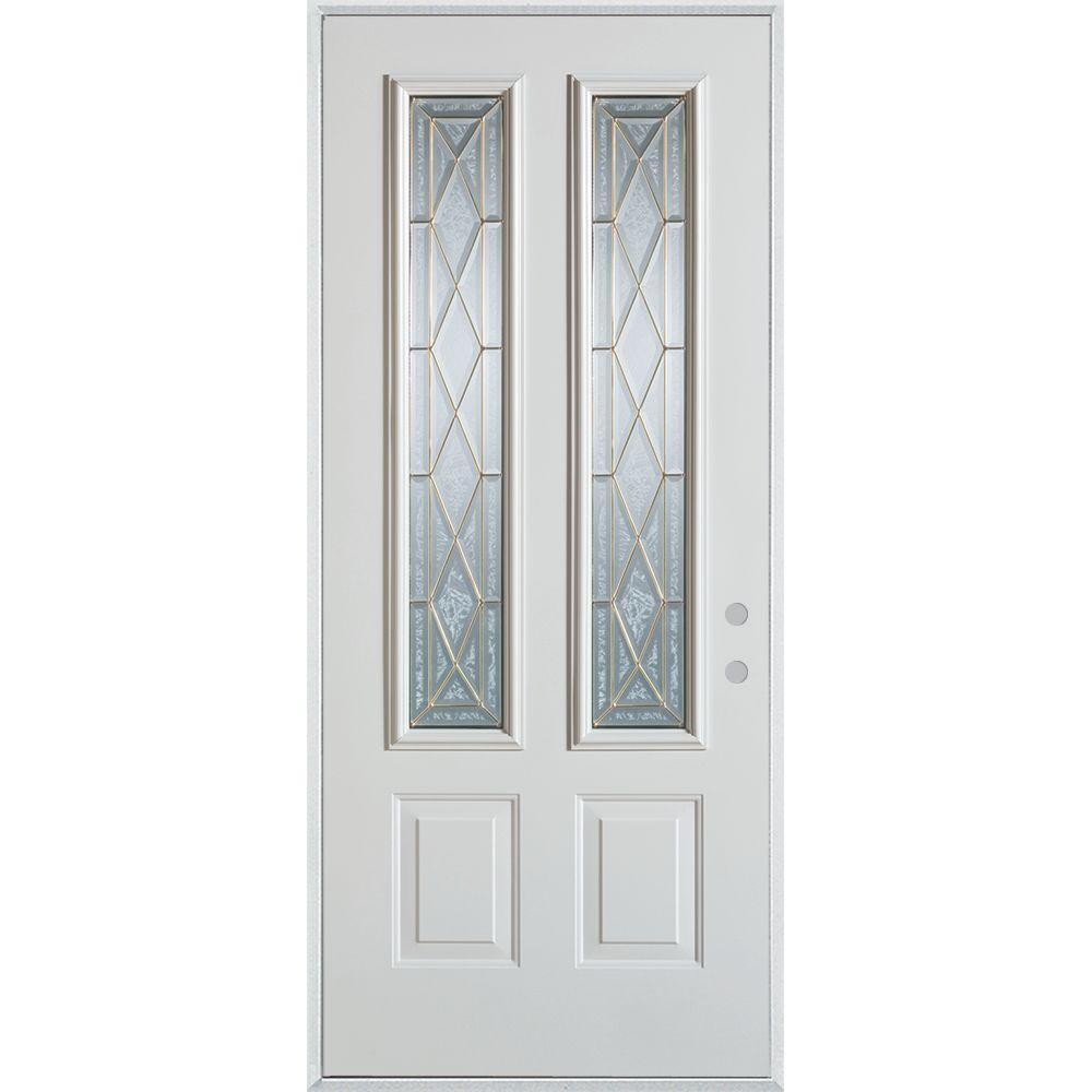 33.375 in. x 82.375 in. Art Deco 2 Lite 2-Panel Painted