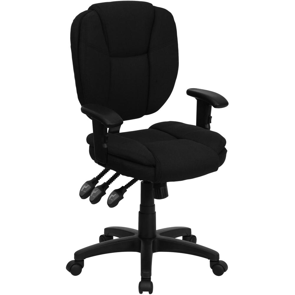 Superbe Flash Furniture Mid Back Black Fabric Multi Functional Ergonomic Swivel  Task Chair With Height