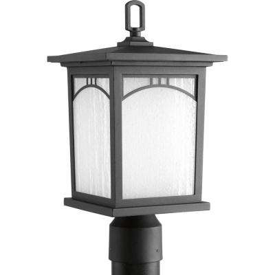 Residence Collection 1-Light Textured Black Outdoor LED Post Lantern